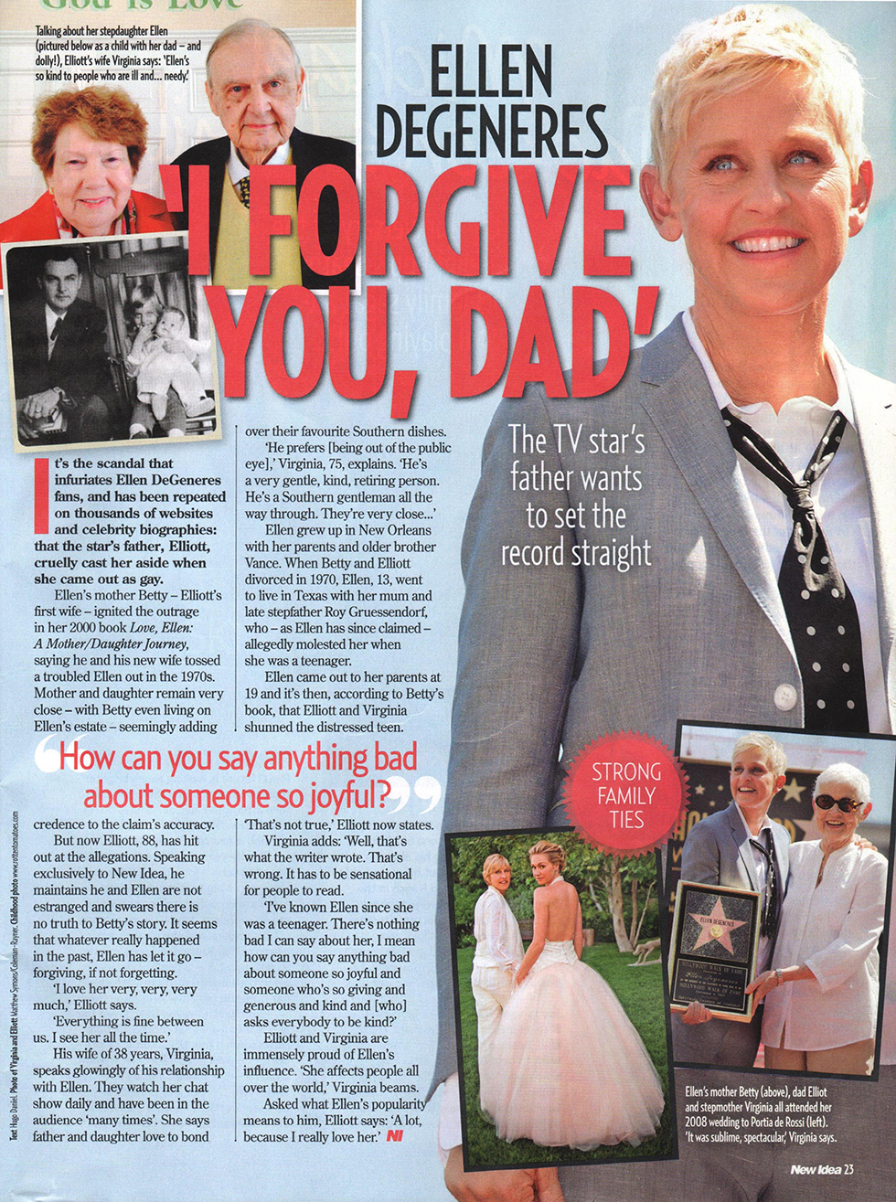 Ellen Degeneres Father >> No Family Feud Here Ellen Degeneres Father Elliott Denies He S