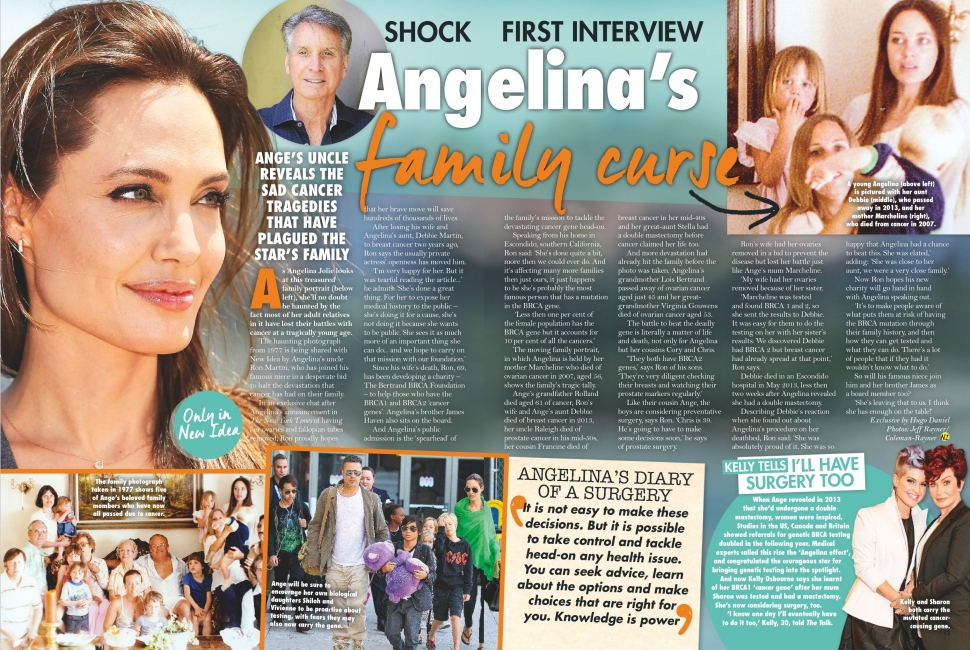 NEW IDEA AU - Issue 14 - Page 13-14 - Angelina Jolie's Uncle Ron Martin speaks about family cancer
