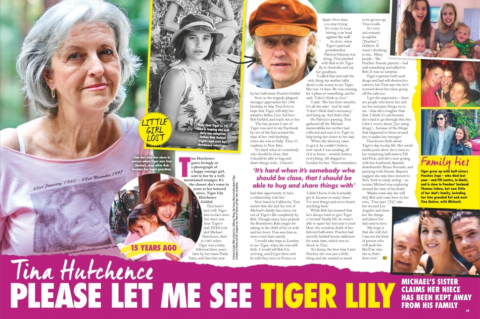 NEW IDEA AU - Issue 21 - Page 28-29 - Tina Hutchence, please let me see Tiger Lily Hutchence Geldof
