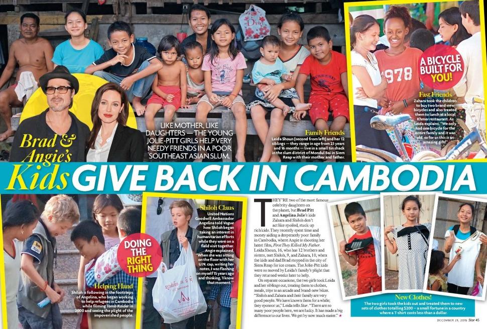 STAR USA - Issue 51 - pg. 44-45 - Angelina Jolie & Brad Pitt's kids, Shiloh and Zahara give back in Cambodia