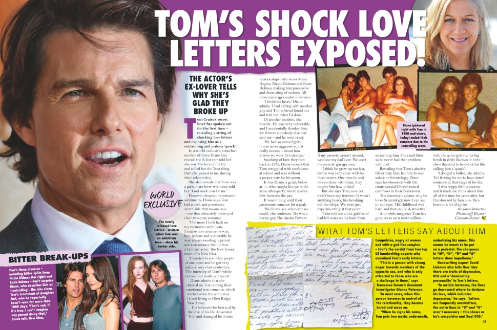 02.15.2016 - NEW IDEA AU - Issue 07 - Tom Cruise's ex-girlfriend, Diane Cox, speaks out and reveals love letters - Pg. 20-21
