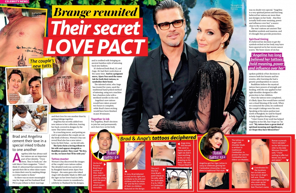02.15.2016 - WOMAN'S DAY AU - Issue 07 - Angelina Jolie's new tattoo by artist Ajarn Noo Kanpai in Bangkok Thailand - pg. 10-11