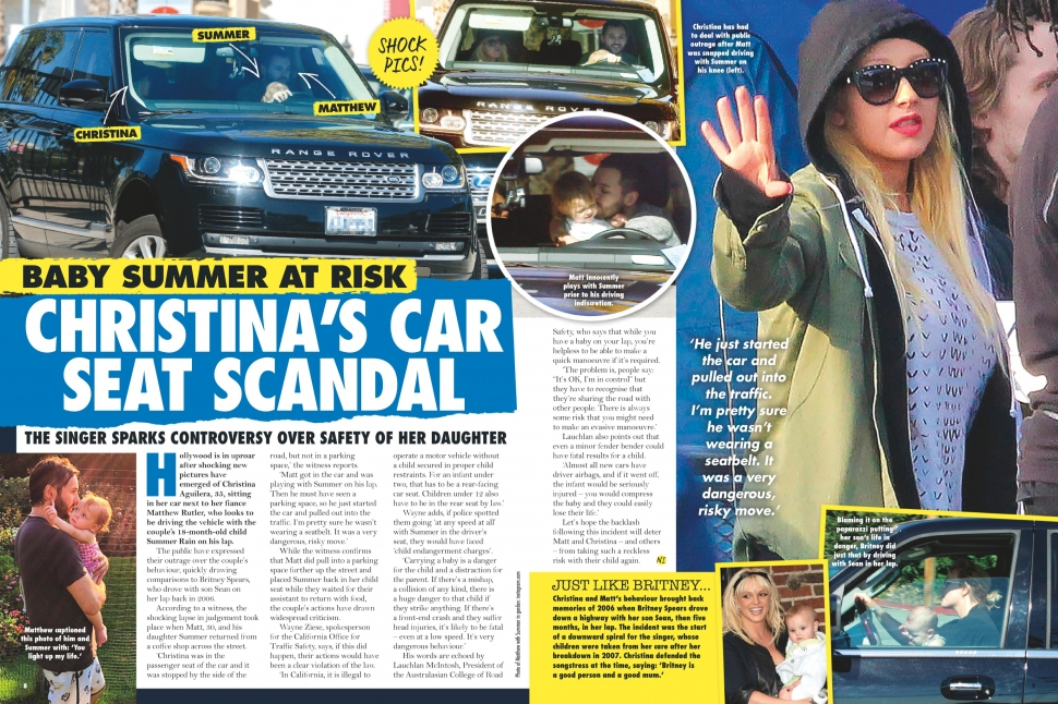 03.07.2016 - NEW IDEA AU - Issue 10 - Christina Aguilera's fiance Matthew Rutler drives with daughter Summer Rain on his lap - pg. 08-09