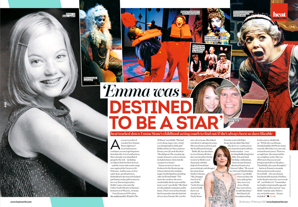 HEAT - Issue 920 - Childhood images of Emma Stone acting at the Arizona Youth Valley Theatre - pg 48-49